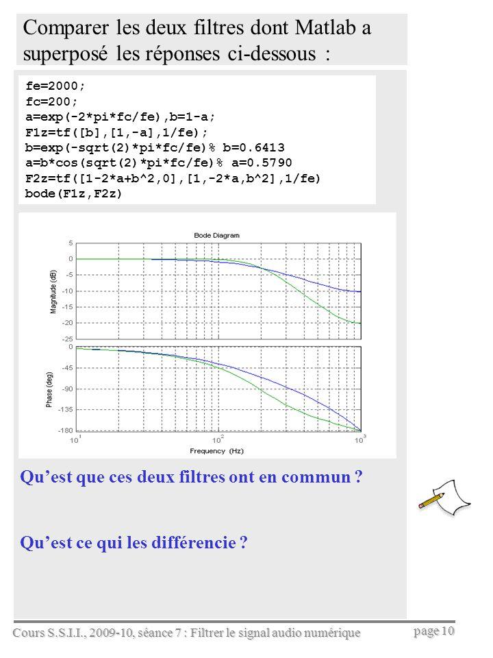 Comparer les deux filtres dont Matlab a superposé les réponses ci-dessous :