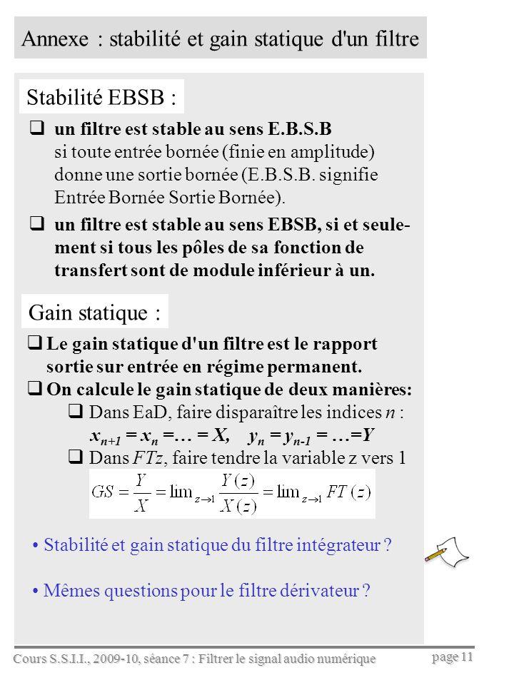 Annexe : stabilité et gain statique d un filtre