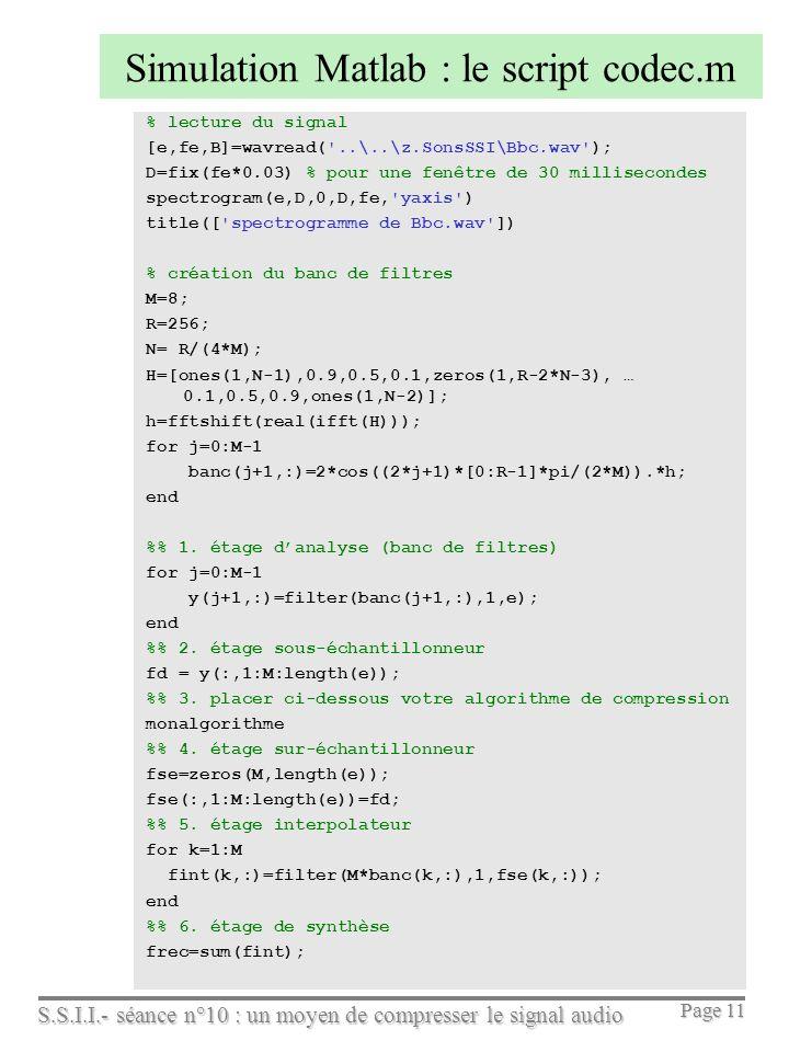 Simulation Matlab : le script codec.m