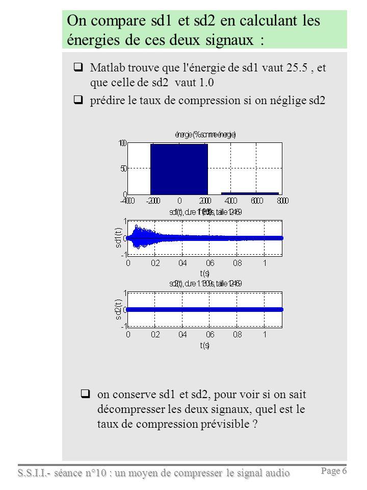 On compare sd1 et sd2 en calculant les énergies de ces deux signaux :