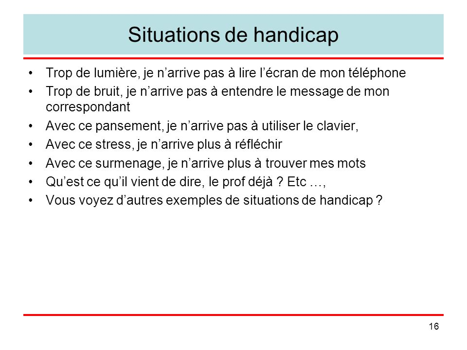 Situations de handicap