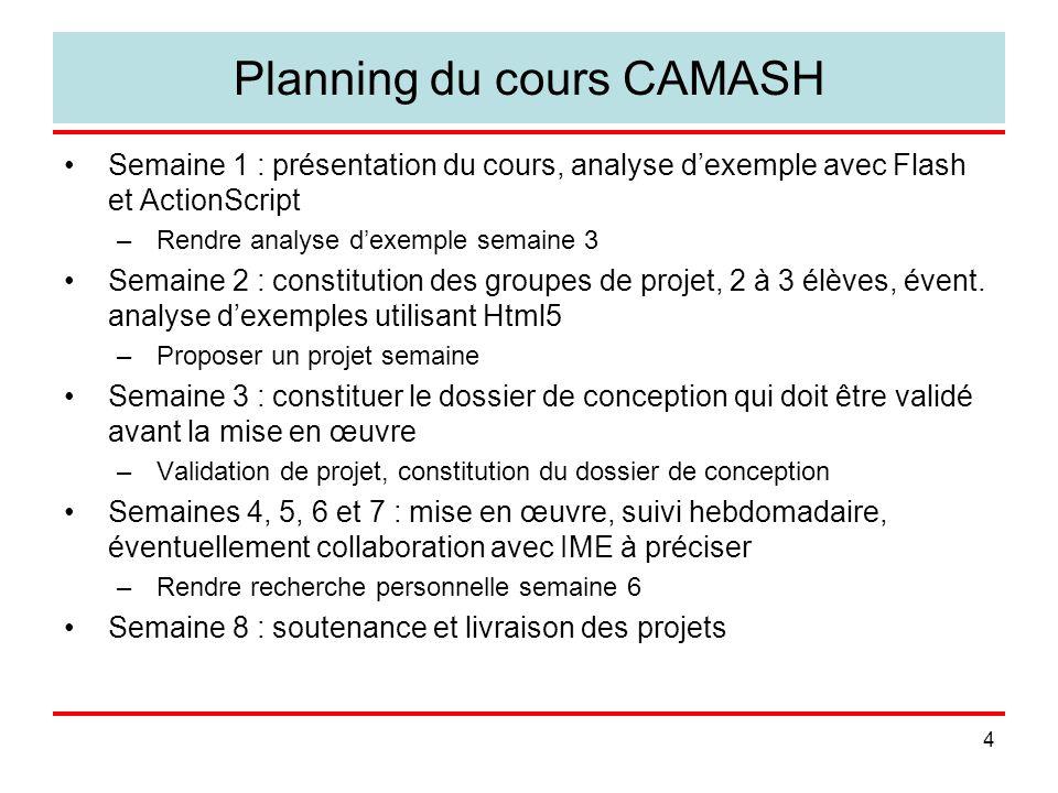 Planning du cours CAMASH