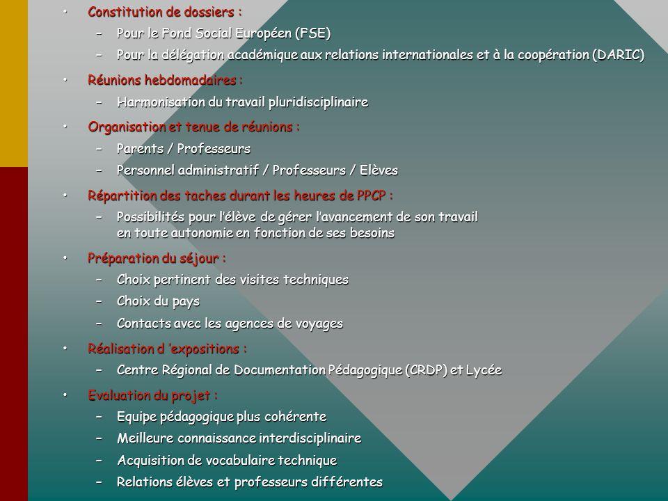 Constitution de dossiers :