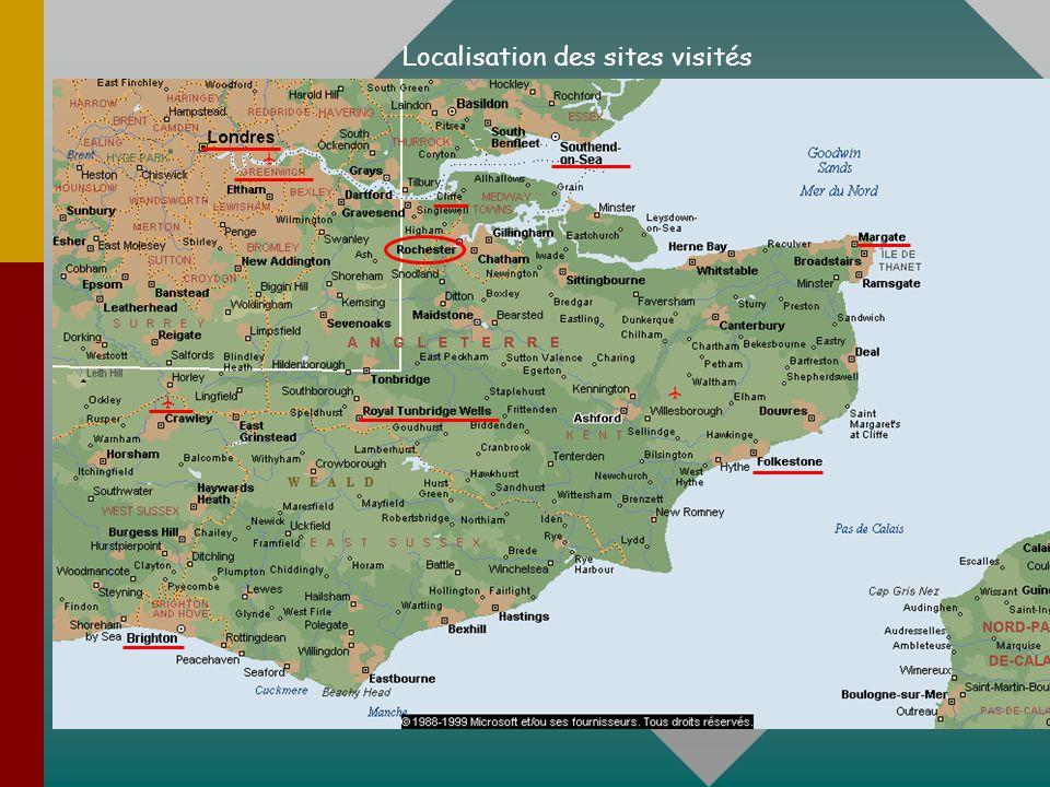 Localisation des sites visités