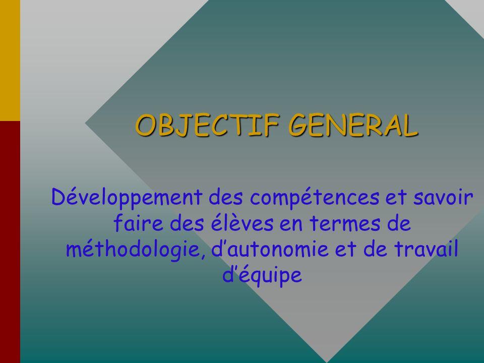 OBJECTIF GENERAL Développement des compétences et savoir faire des élèves en termes de méthodologie, d'autonomie et de travail d'équipe.