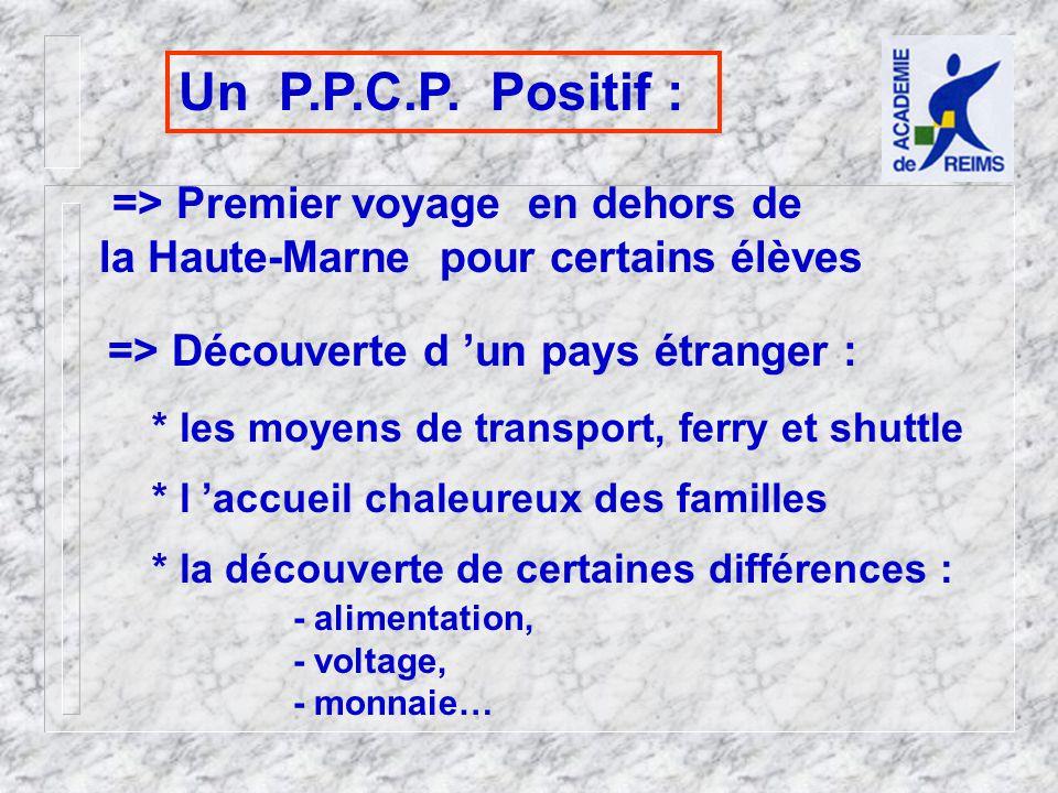 Un P.P.C.P. Positif : => Premier voyage en dehors de