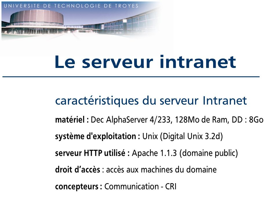 Le serveur intranet caractéristiques du serveur Intranet