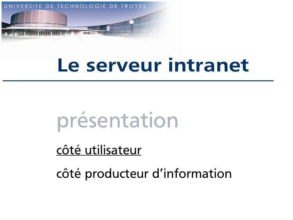 présentation Le serveur intranet côté utilisateur