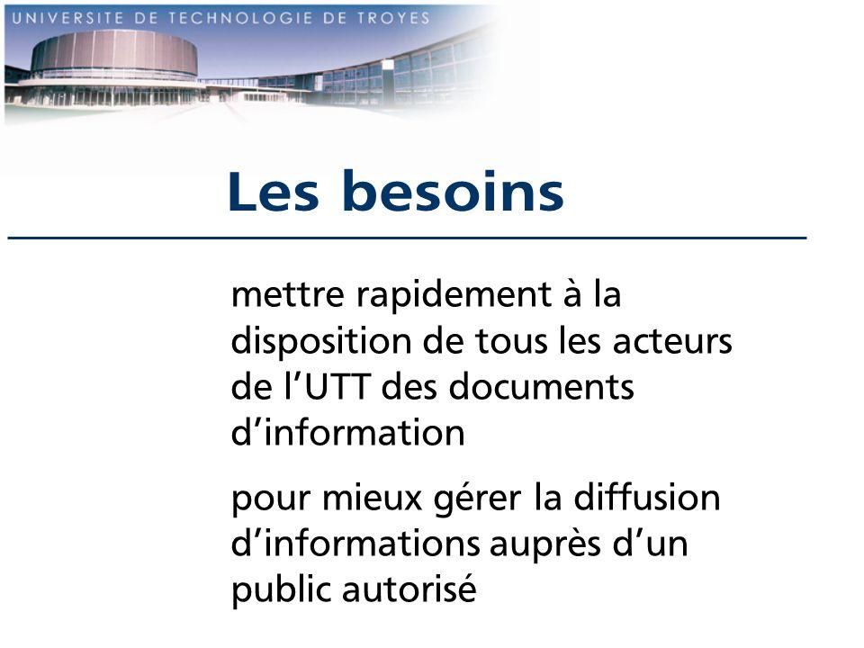 Les besoins mettre rapidement à la disposition de tous les acteurs de l'UTT des documents d'information.