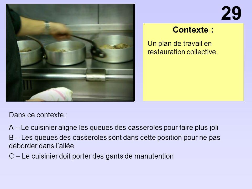 29 Contexte : Un plan de travail en restauration collective.