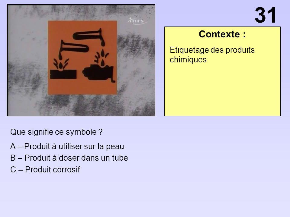 31 Contexte : Etiquetage des produits chimiques