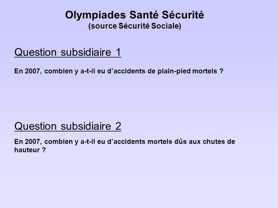 Olympiades Santé Sécurité (source Sécurité Sociale)