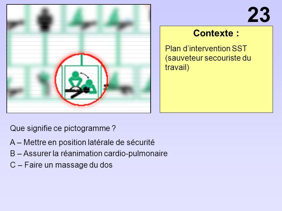 23 Contexte : Plan d'intervention SST (sauveteur secouriste du travail) Que signifie ce pictogramme