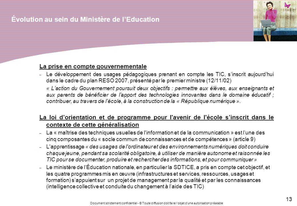Évolution au sein du Ministère de l'Education