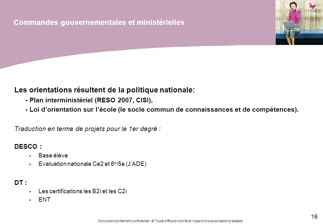 Commandes gouvernementales et ministérielles