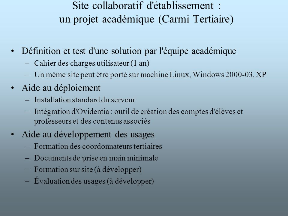 Site collaboratif d établissement : un projet académique (Carmi Tertiaire)