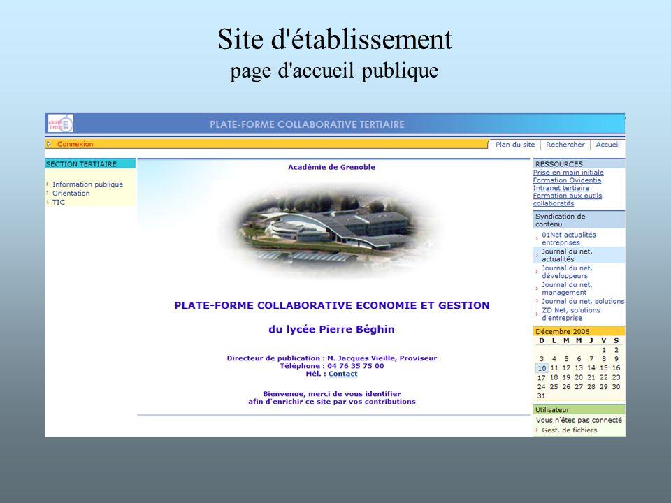 Site d établissement page d accueil publique
