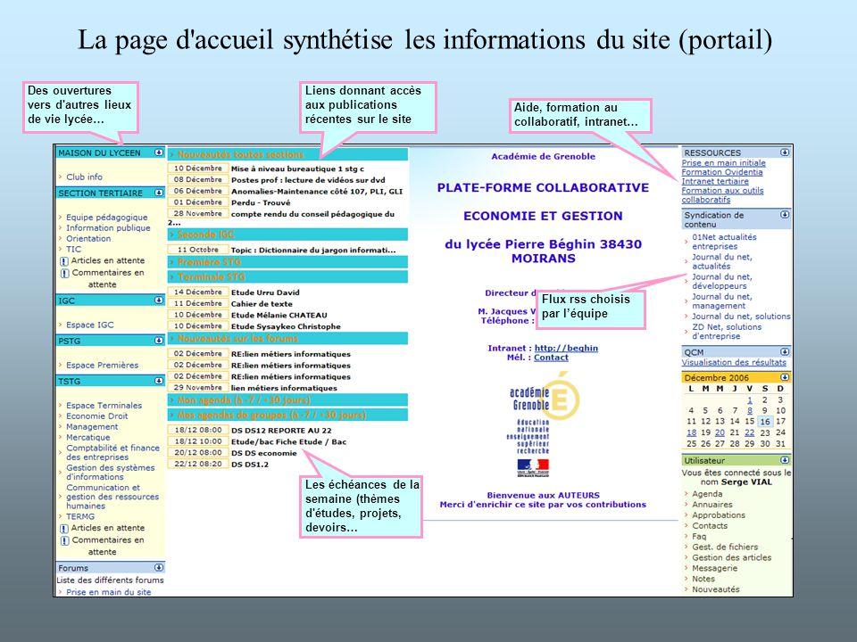 La page d accueil synthétise les informations du site (portail)