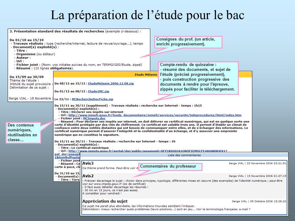 La préparation de l'étude pour le bac