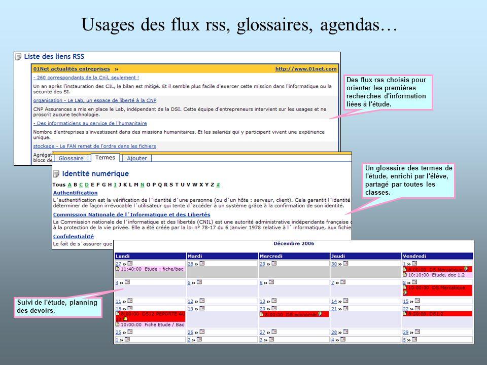 Usages des flux rss, glossaires, agendas…