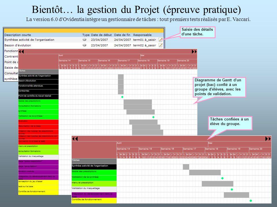 Bientôt… la gestion du Projet (épreuve pratique)