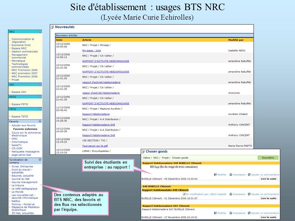 Site d établissement : usages BTS NRC (Lycée Marie Curie Echirolles)