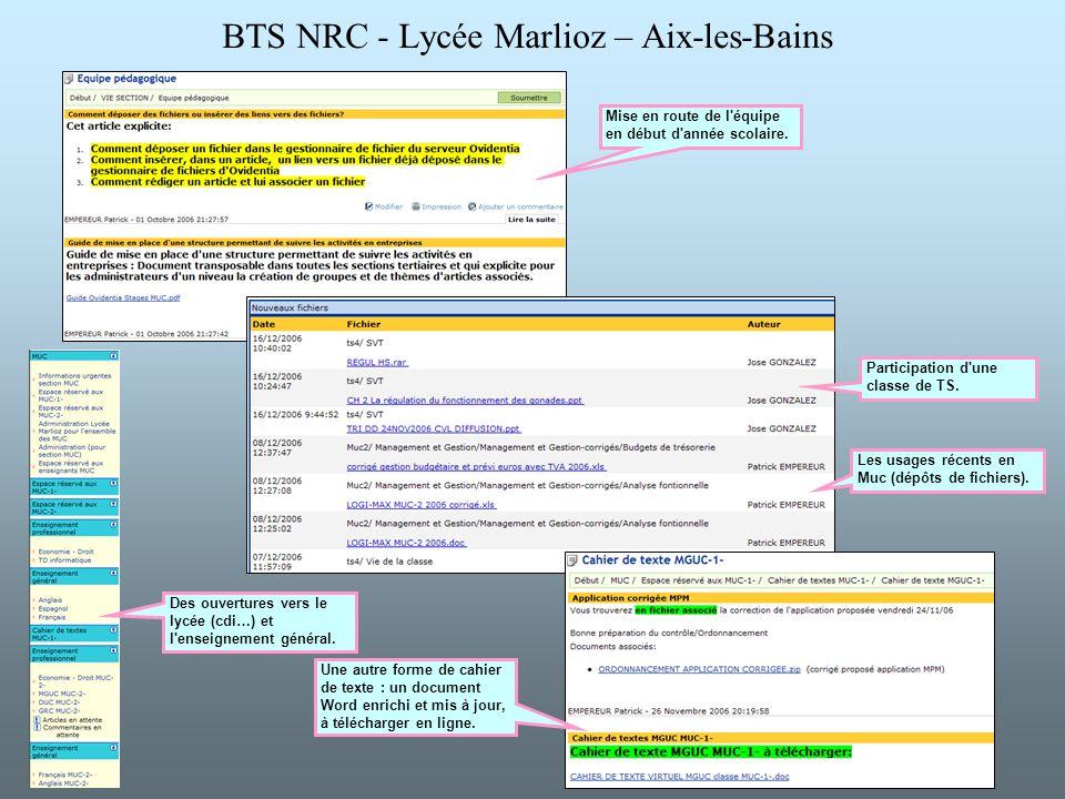 BTS NRC - Lycée Marlioz – Aix-les-Bains