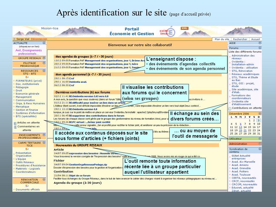 Après identification sur le site (page d accueil privée)