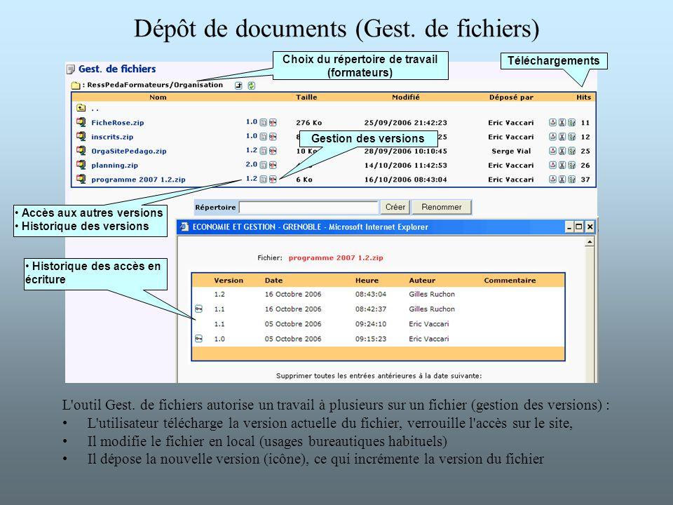 Dépôt de documents (Gest. de fichiers)