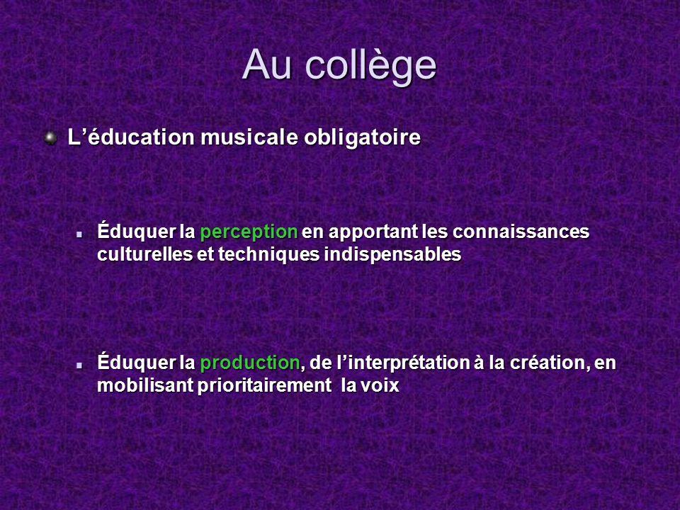 Au collège L'éducation musicale obligatoire