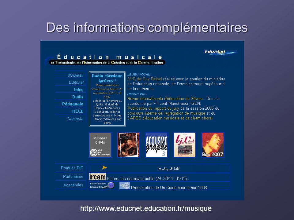 Des informations complémentaires