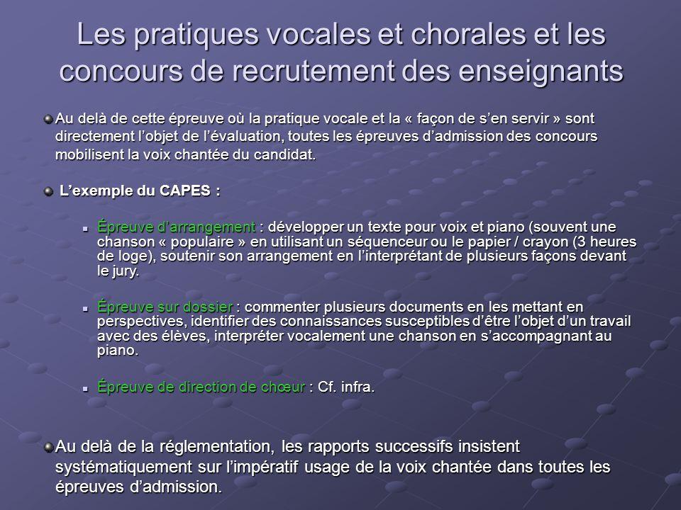 Les pratiques vocales et chorales et les concours de recrutement des enseignants