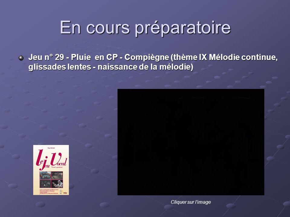 En cours préparatoire Jeu n° 29 - Pluie en CP - Compiègne (thème IX Mélodie continue, glissades lentes - naissance de la mélodie)