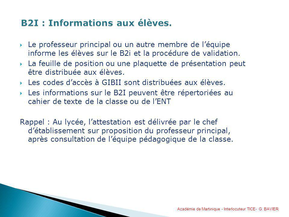 B2I : Informations aux élèves.