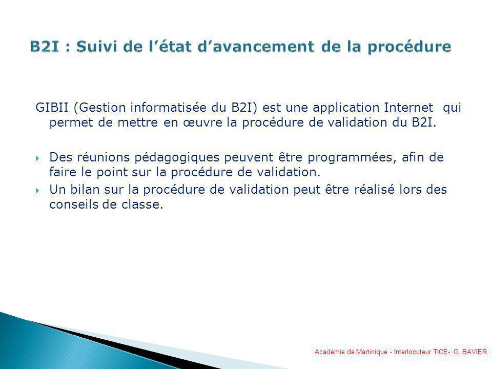 B2I : Suivi de l'état d'avancement de la procédure