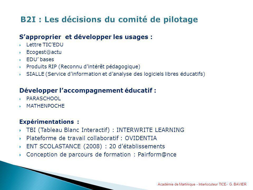 B2I : Les décisions du comité de pilotage