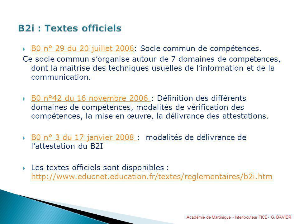 B2i : Textes officiels B0 n° 29 du 20 juillet 2006: Socle commun de compétences.