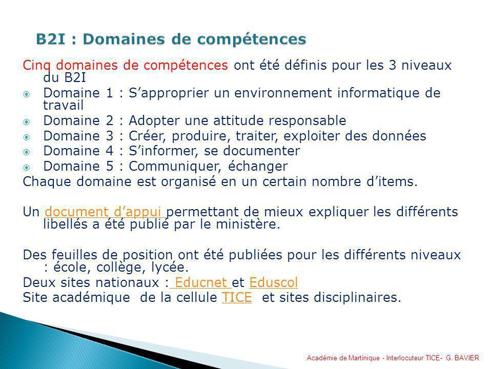 B2I : Domaines de compétences