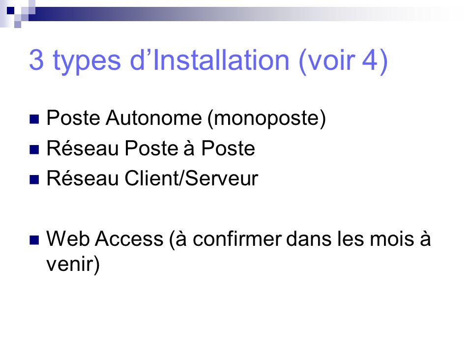 3 types d'Installation (voir 4)