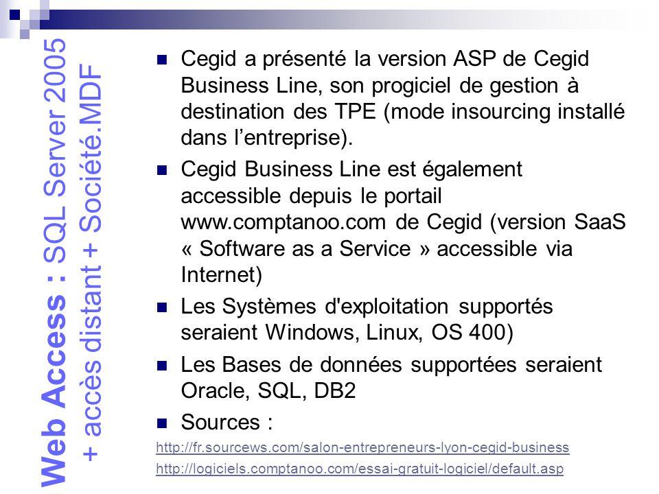 Web Access : SQL Server 2005 + accès distant + Société.MDF