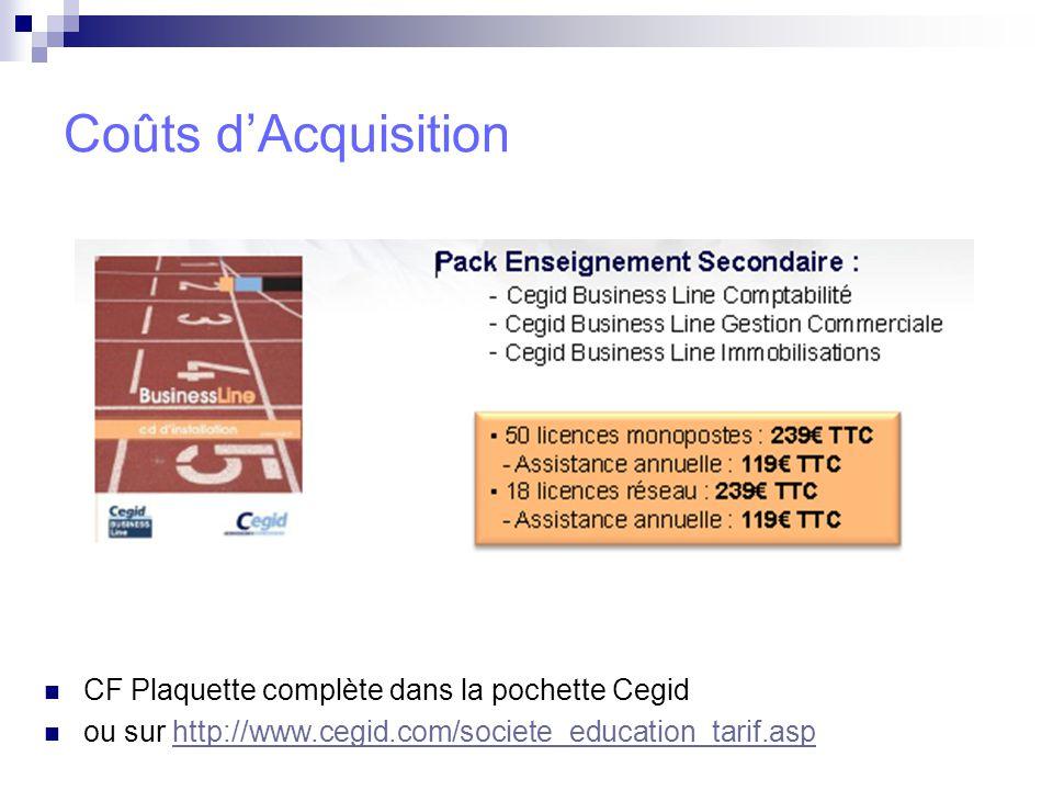 Coûts d'Acquisition CF Plaquette complète dans la pochette Cegid