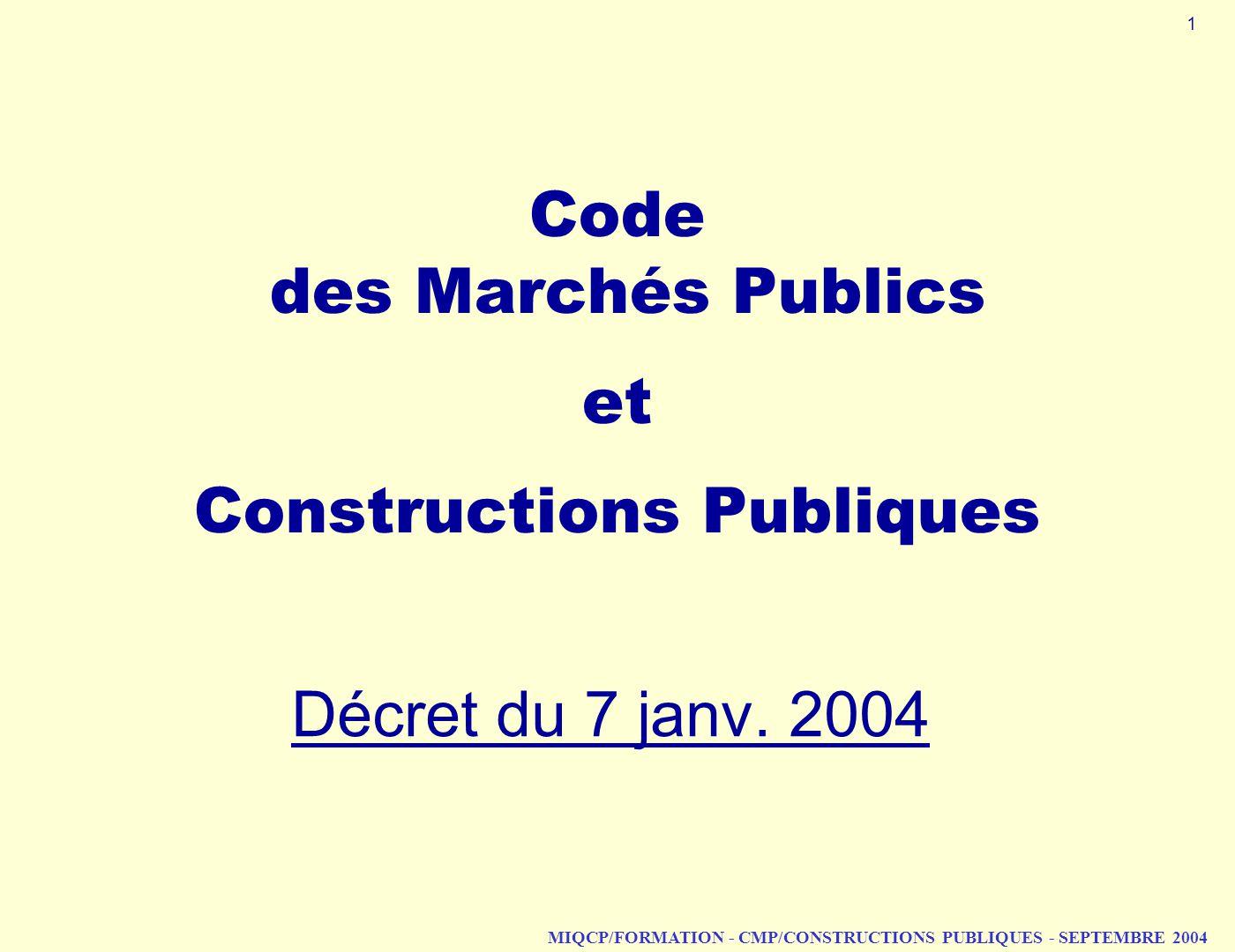 Code des Marchés Publics et Constructions Publiques