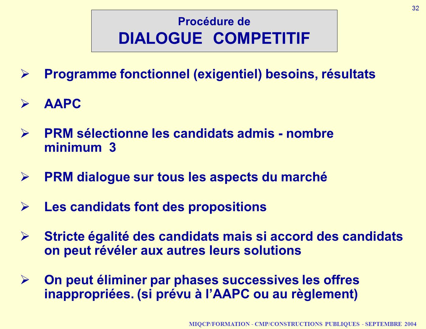 Procédure de DIALOGUE COMPETITIF