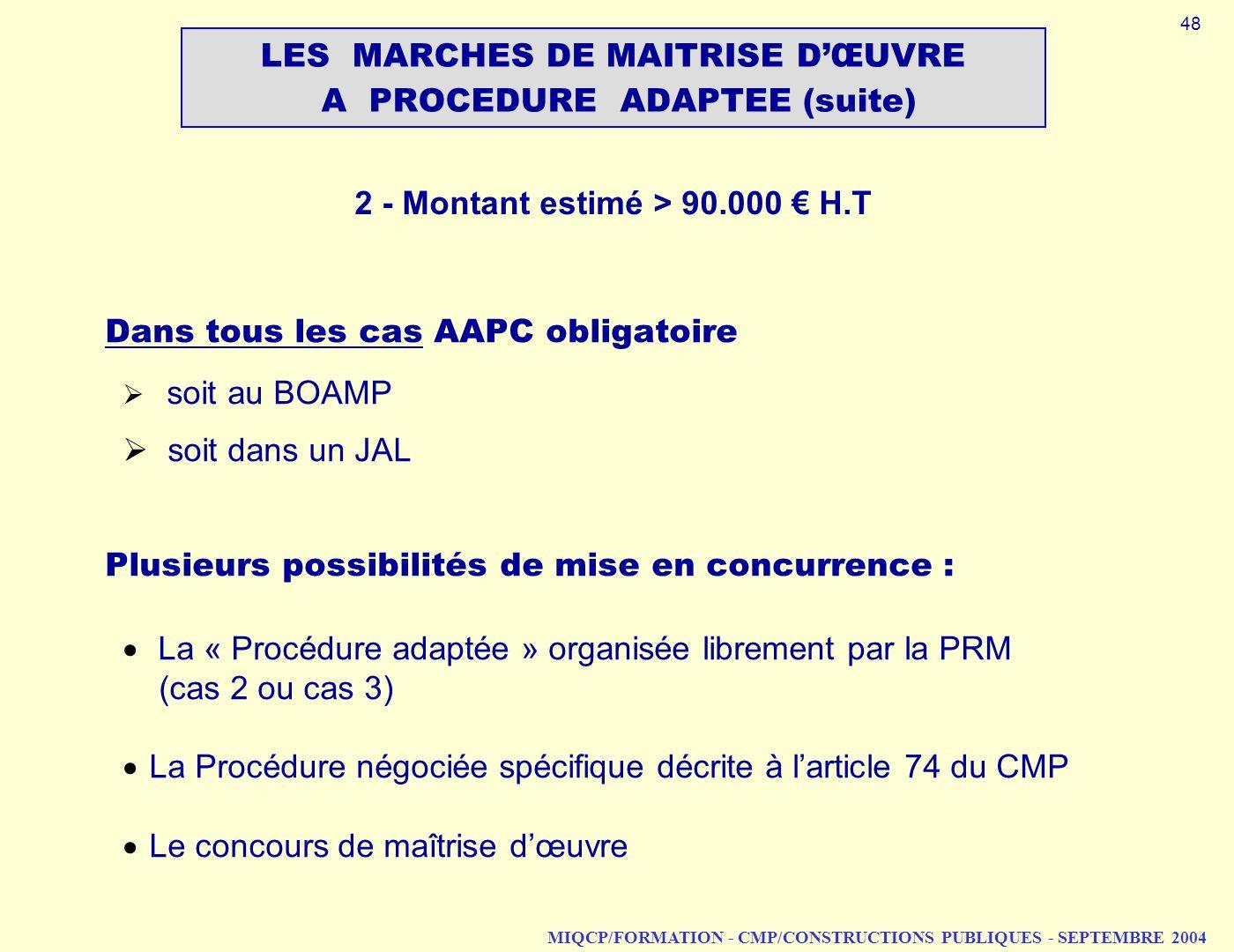 LES MARCHES DE MAITRISE D'ŒUVRE A PROCEDURE ADAPTEE (suite)