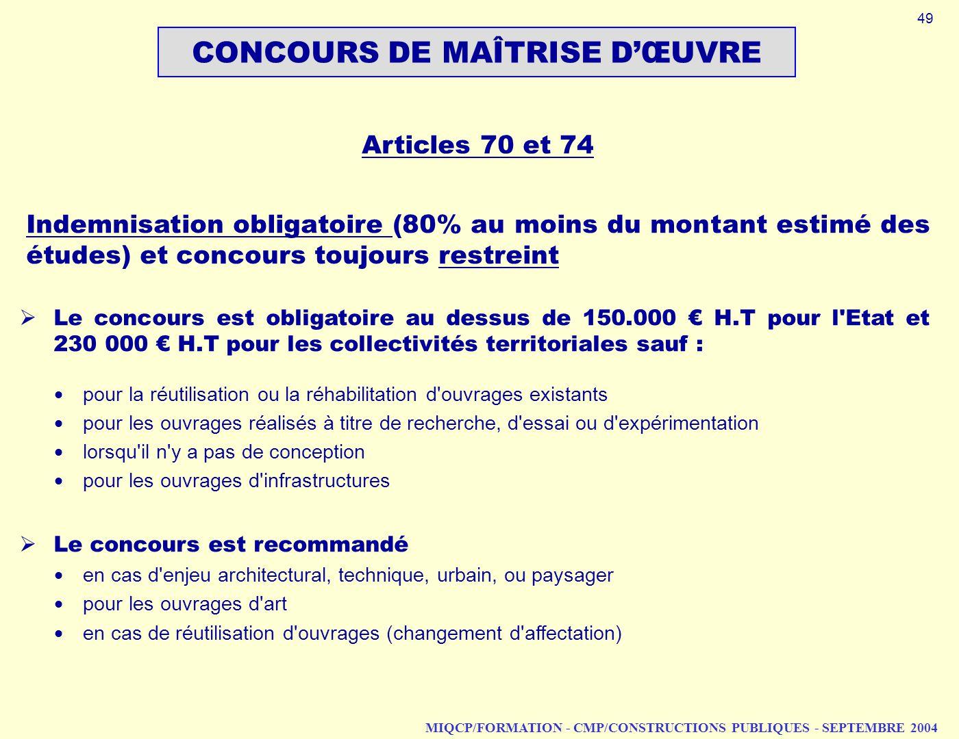 CONCOURS DE MAÎTRISE D'ŒUVRE