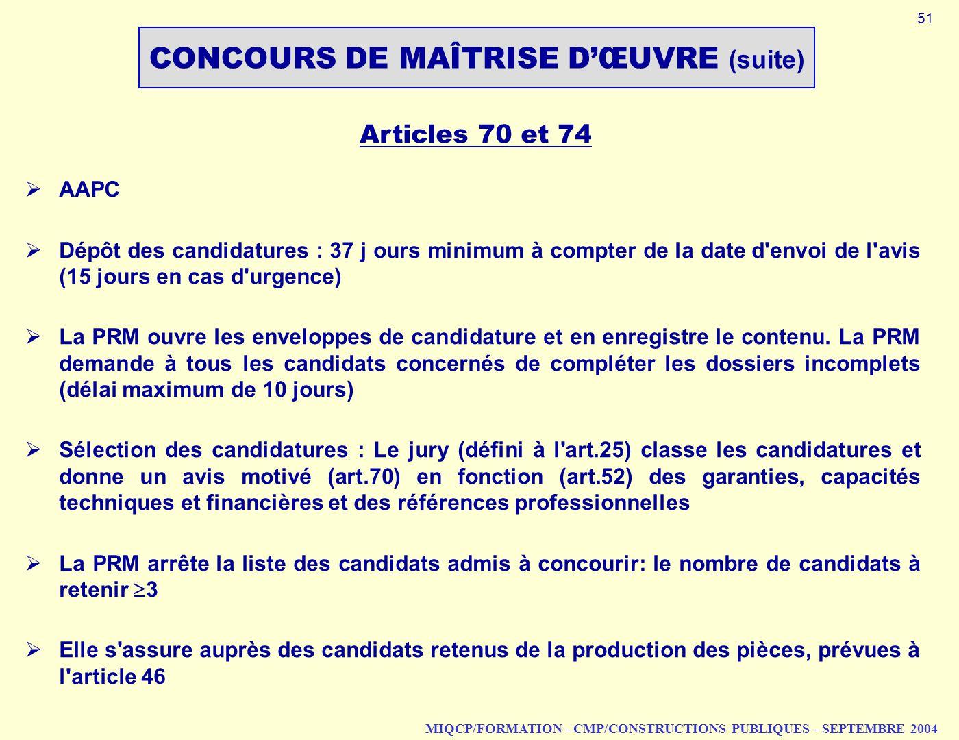 CONCOURS DE MAÎTRISE D'ŒUVRE (suite)