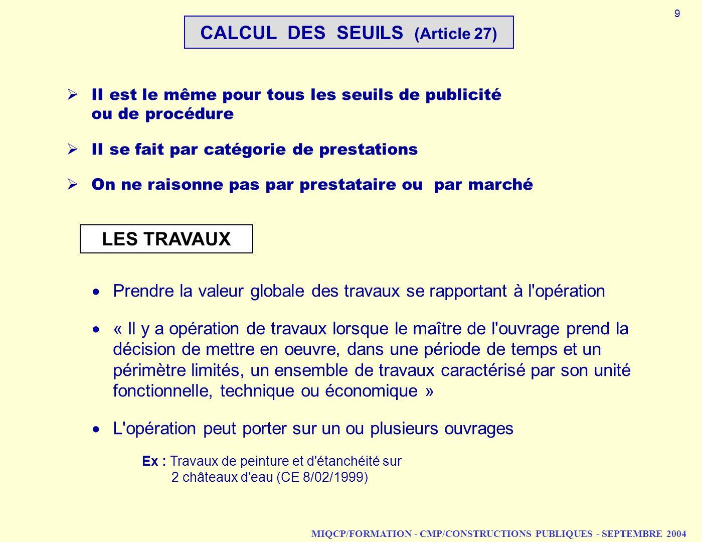 CALCUL DES SEUILS (Article 27)
