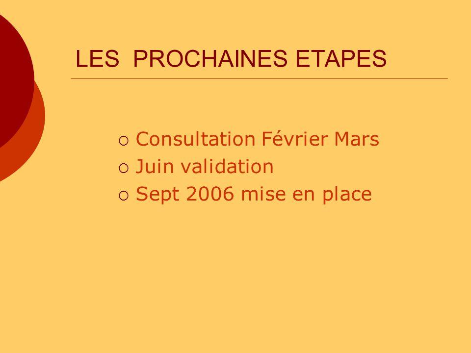 LES PROCHAINES ETAPES Consultation Février Mars Juin validation