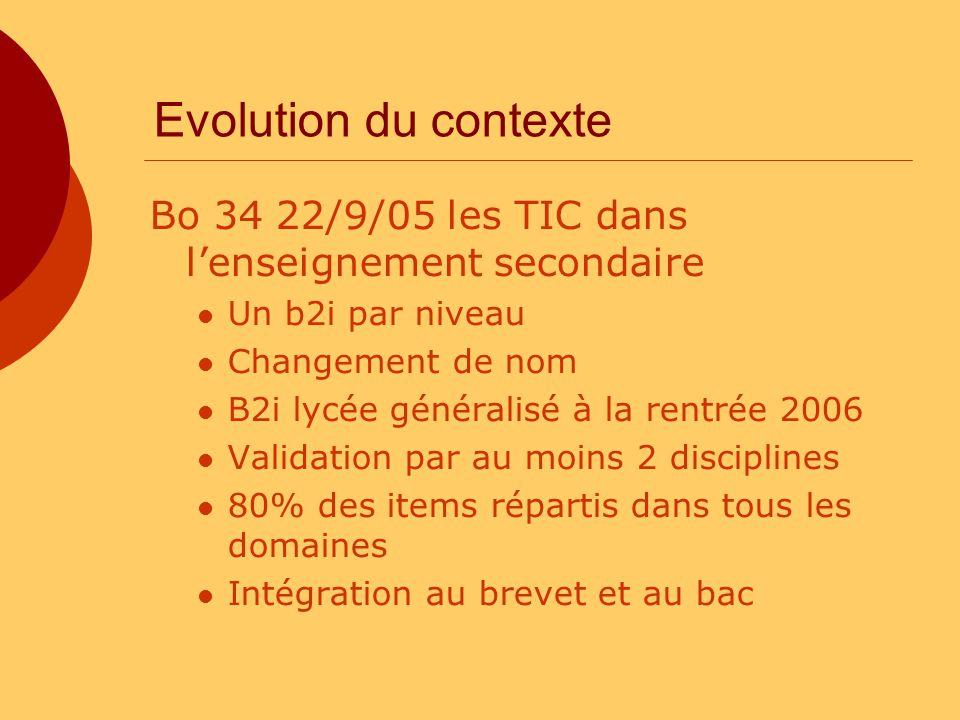 Evolution du contexte Bo 34 22/9/05 les TIC dans l'enseignement secondaire. Un b2i par niveau. Changement de nom.