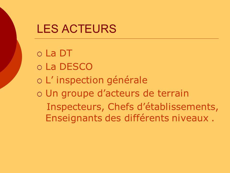 LES ACTEURS La DT La DESCO L' inspection générale